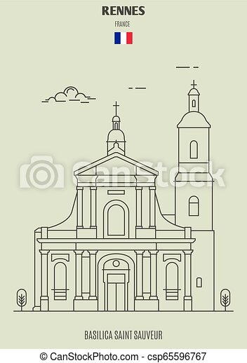 france., sauveur, rennes, punto di riferimento, basilica, santo, icona - csp65596767