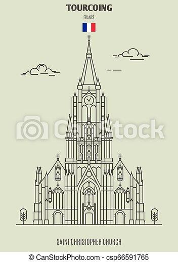 france., tourcoing, chiesa, punto di riferimento, christopher, santo, icona - csp66591765