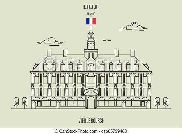 france., vieille, bourse, lille, punto di riferimento, icona - csp65739408