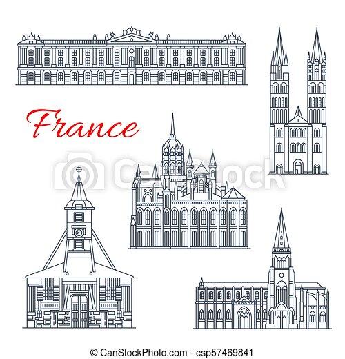 francia, disegno, magro, punto di riferimento, linea, viaggiare, icona - csp57469841