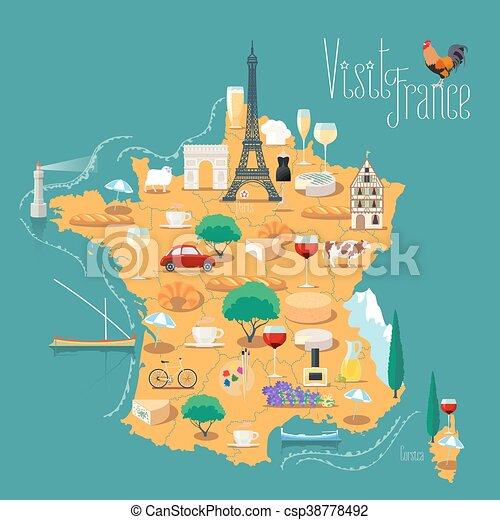 francia, vettore, isolato, mappa, illustrazione - csp38778492