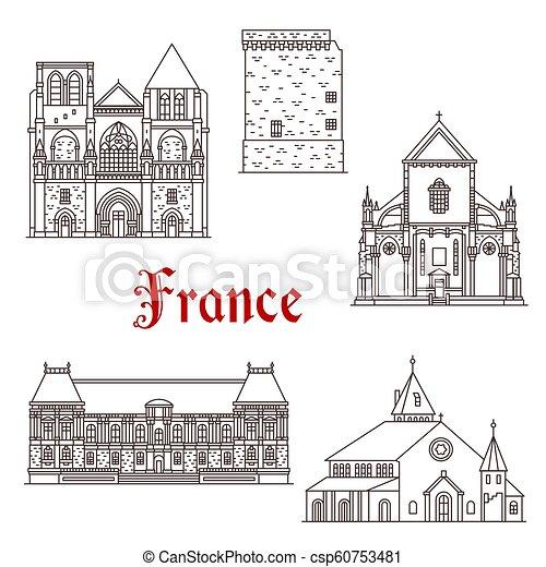 francia, vettore, linea, bretagna, icone, architettura - csp60753481