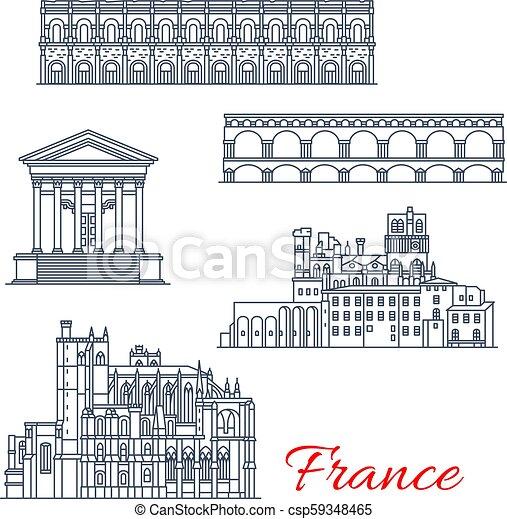 francia, vettore, narbonne, nimes, architettura - csp59348465