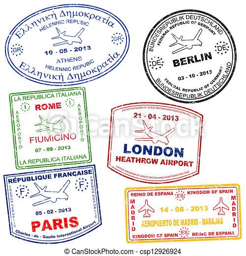 francobolli, set, passaporto - csp12926924