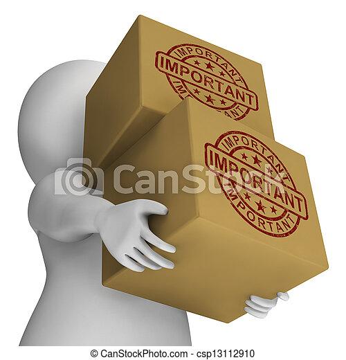 francobollo, consegna, scatole, importante, critico, mostra - csp13112910