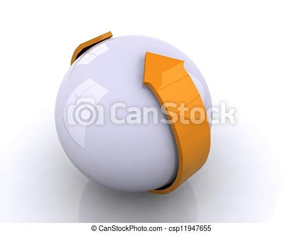 freccia, sfera, 3d - csp11947655
