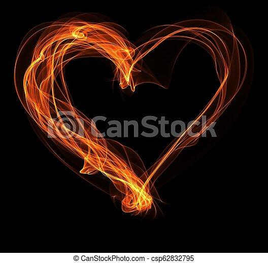 fuoco, cuore, illustrazione - csp62832795