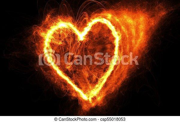fuoco, cuore, nero - csp55018053