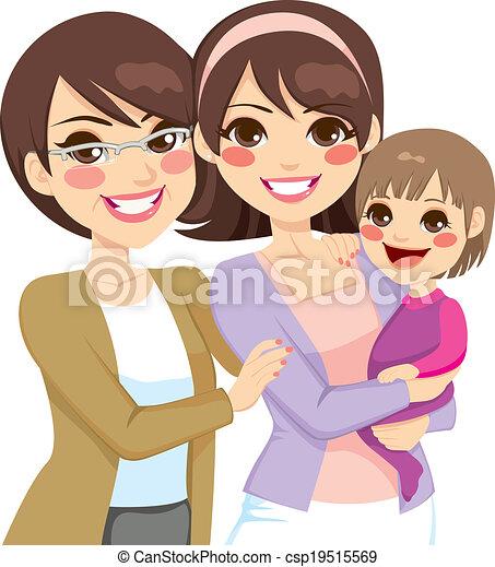 generazione, giovane famiglia, tre - csp19515569