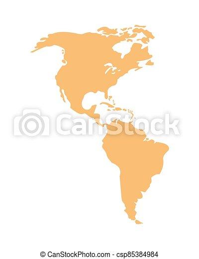geografia, continente, silhouette, icona americana - csp85384984