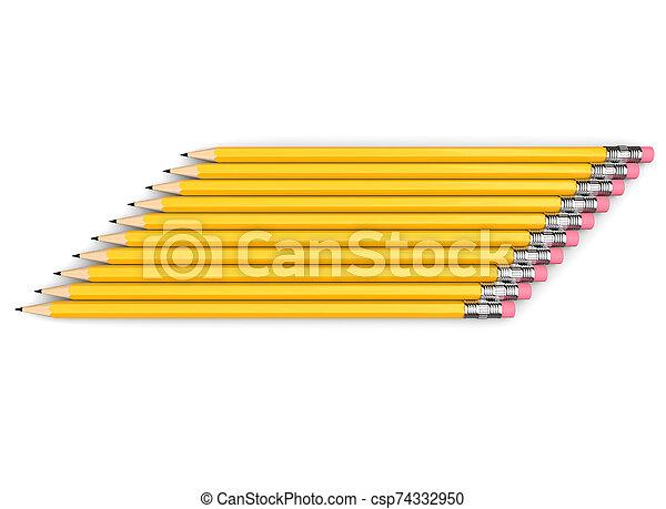 giallo, lato, matite, gruppo, accatastato, grafite, neatly - csp74332950