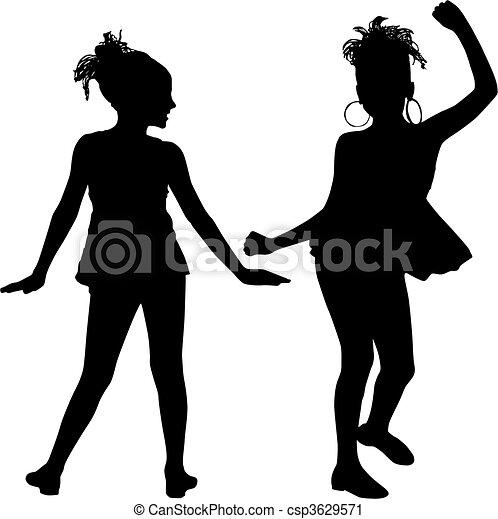 gioia, silhouette, bambini - csp3629571