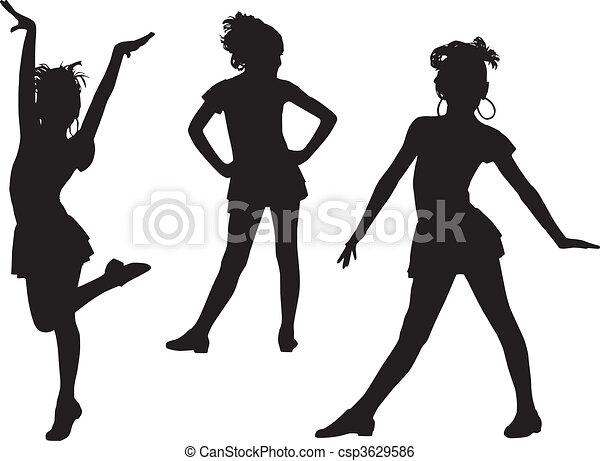 gioia, silhouette, bambini - csp3629586
