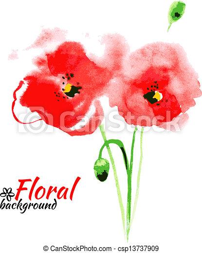 giorno, felice, madre, acquarello, vettore, cartelle, vernice, rosso, illustration., bello, poppy. - csp13737909