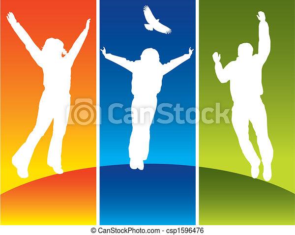 giovane, saltare, tre persone - csp1596476