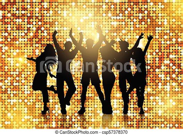 glittery, oro, persone, ballo, silhouette, fondo - csp57378370