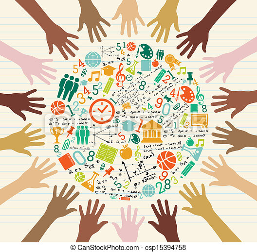 globale, educazione, umano, hands., icone - csp15394758