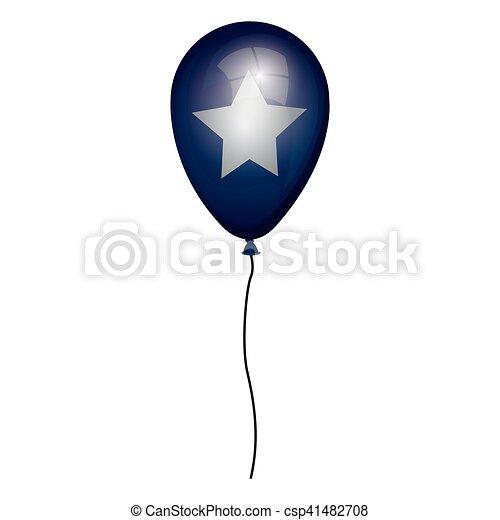 globo blu, stella, bianco - csp41482708