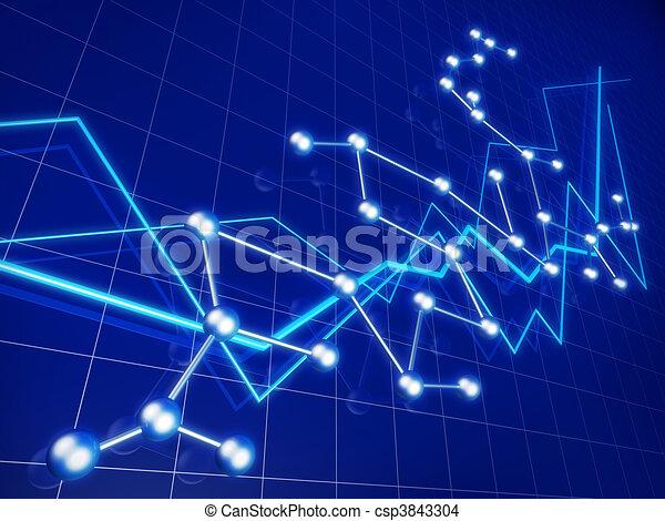 grafico, affari, crescita finanziaria, rete, concetto - csp3843304