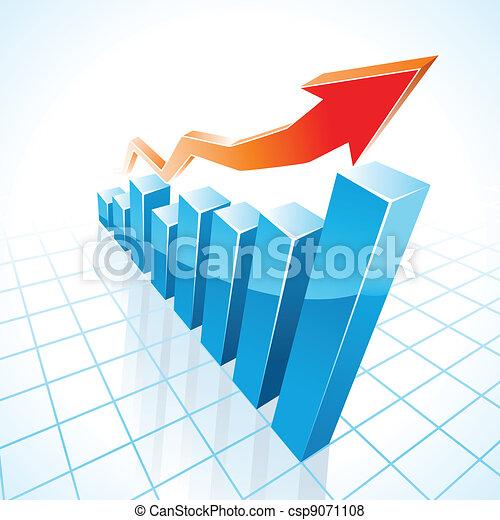 grafico, crescita, sbarra, affari, 3d - csp9071108
