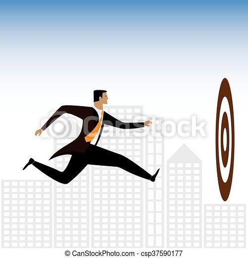 grafico, esecutivo, -, o, vettore, uomo affari, tentando, obiettivi, ottenere - csp37590177