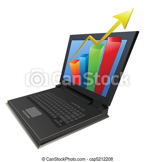 grafico, laptop, crescita, affari - csp5212208