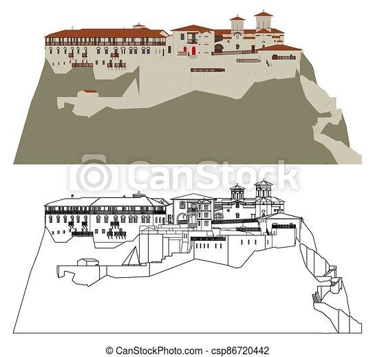 greece., monastero, meteora, varlaam - csp86720442