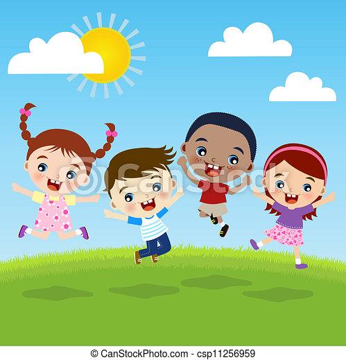 gruppo, bambini, felicità - csp11256959