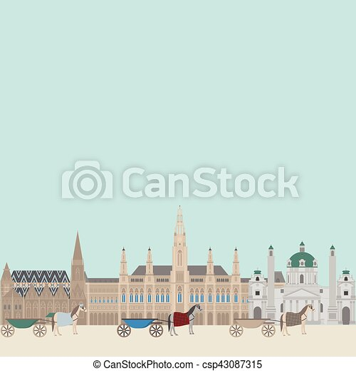 hall., città, vienna., elementi, punto di riferimento, viaggiare, viste, città, austria, karlskirche, architettura, cityscape, austriaco, stephansdom, viaggio - csp43087315