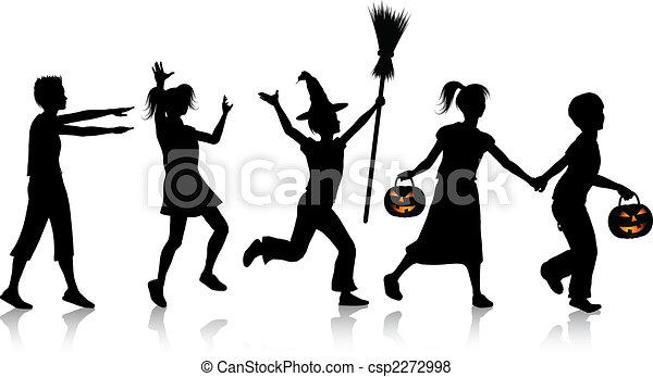 halloween, bambini, notte - csp2272998