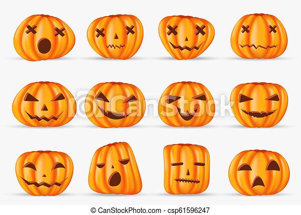 halloween, isolato, elemento, decorazione, realistico, fondo, zucca, felice - csp61596247
