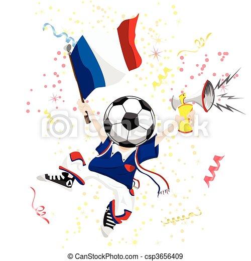 head., palla calcio, ventilatore, francia - csp3656409