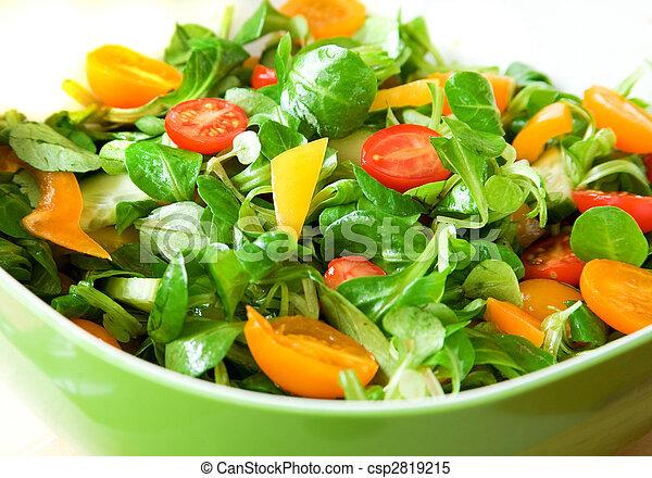 healthy!, ciotola insalata, verde, verdura fresca, servito, mangiare - csp2819215