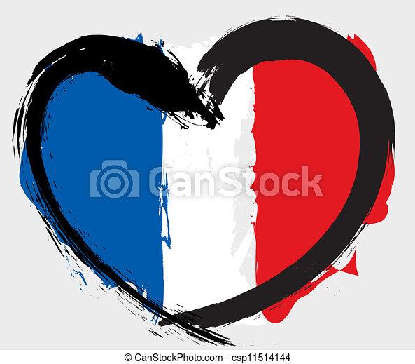 heartshape, bandiera, francia - csp11514144
