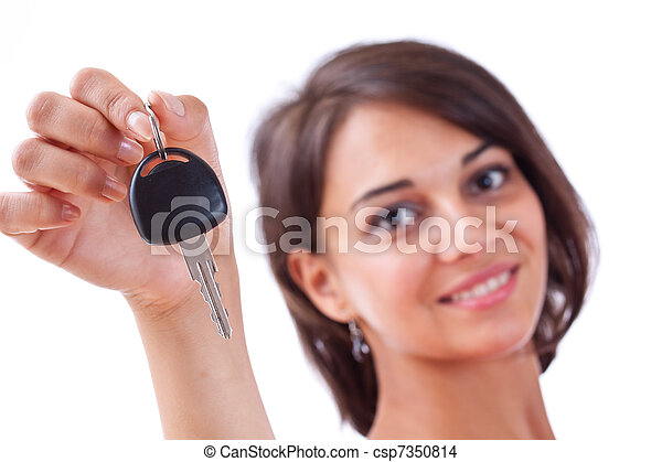 holding donna, chiavi, automobile - csp7350814