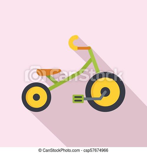icona, appartamento, stile, bambini, triciclo - csp57674966