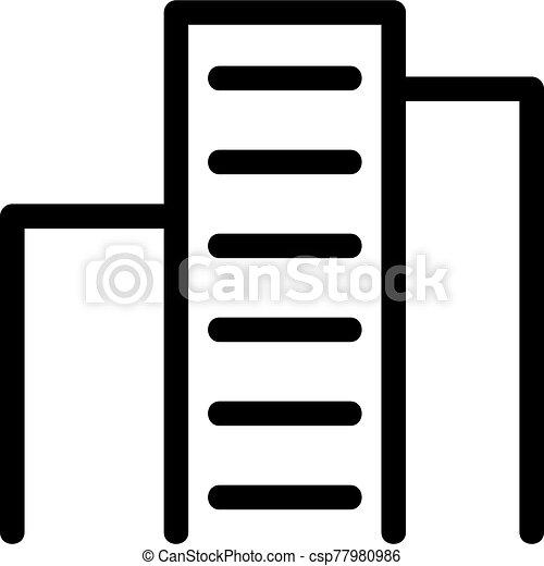 icona, contorno, illustrazione, grattacielo, simbolo, isolato, vector. - csp77980986
