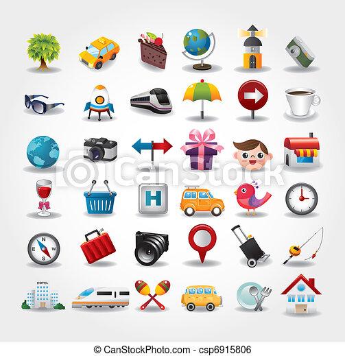 icone, collection., viaggiare, illustrazione, vettore, simbolo - csp6915806