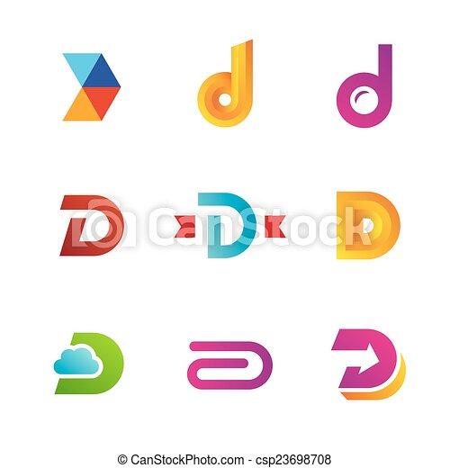 icone, elementi, sagoma, logotipo, set, lettera, disegno, d - csp23698708
