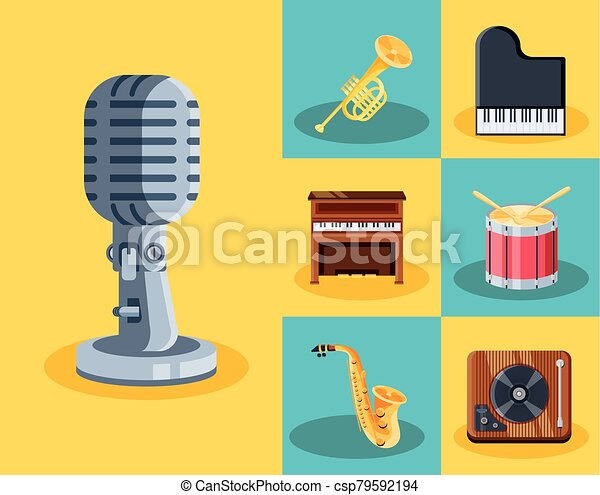 icone, musicale, set, strumenti - csp79592194