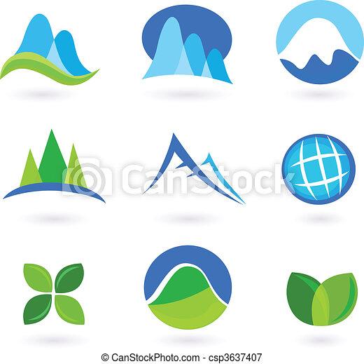 icone, natura, montagna, turism - csp3637407