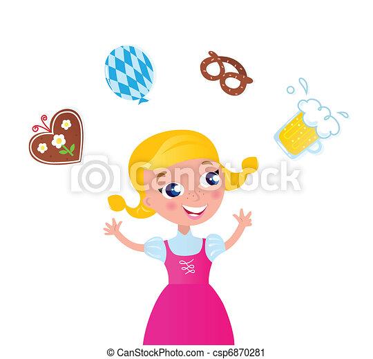icone, ragazza, octoberfest:, manipolazione, bavarese, vestito colore rosa - csp6870281
