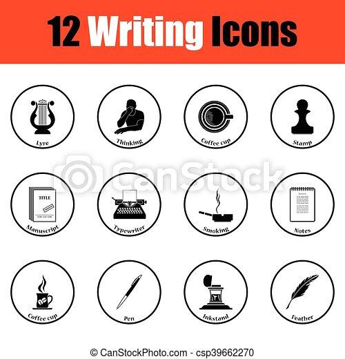 icone, scrittore, set - csp39662270
