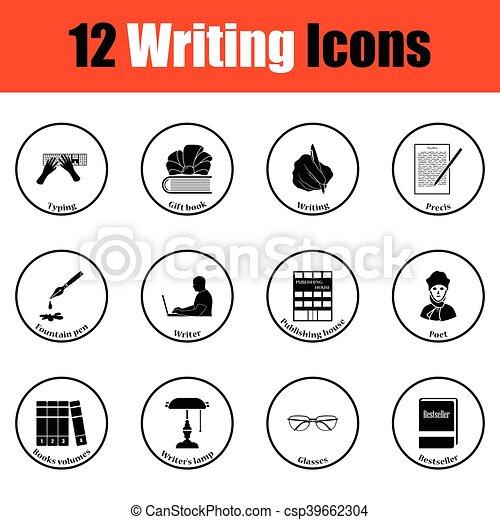 icone, scrittore, set - csp39662304