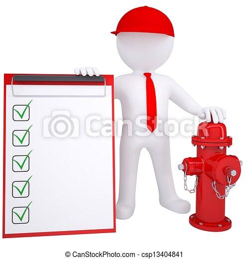 idrante, fuoco, prossimo, bianco, uomo, 3d - csp13404841