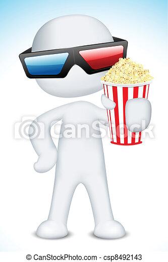 il portare, 3d, presa a terra, popcorn, uomo, occhiali - csp8492143
