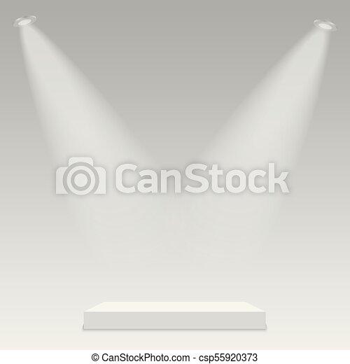illuminato, luce, rotondo, fondo., podio, vector., trasparente, palcoscenico - csp55920373