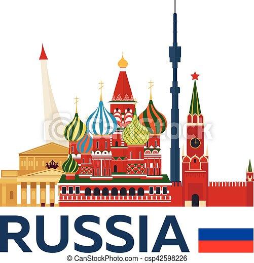 illustration., kremlin., viaggiare, vettore, skyline., russia, mosca - csp42598226