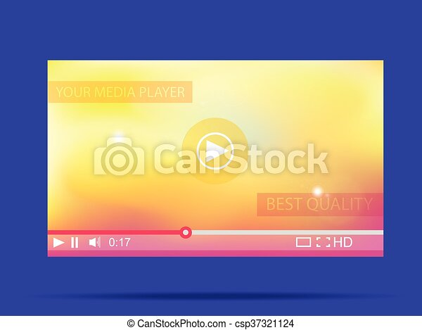 illustration., web., player., vettore, video, media, interfaccia - csp37321124