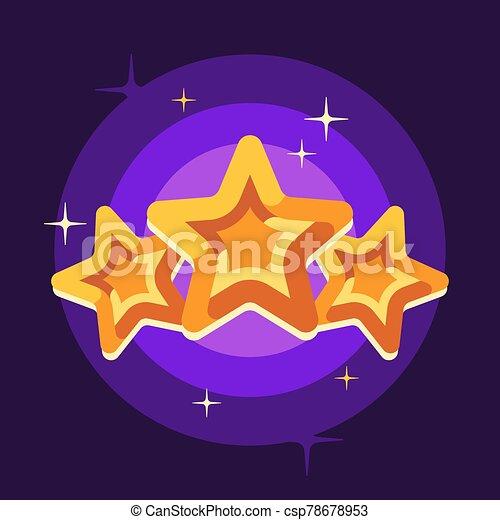 illustrazione, appartamento, stelle, fondo, viola, tre, dorato - csp78678953